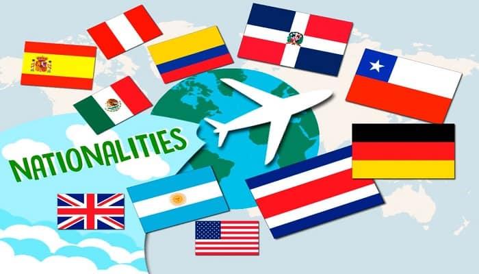 paises y nacionalidades en inglés